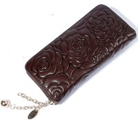 Wholesale 2015 New fashion women wallets flower pattern coin purse real leather ladies card bags top quality