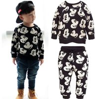 baby sweatsuit - 2016 New Baby Boy Girls Mickey Mouse Sweatsuit Tops Pants Leggings Outfits Set sets