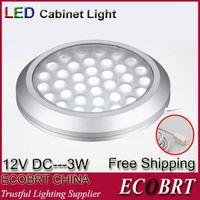 Cheap Round Surface Flat 12v 3w Led Spotlight Aluminum Housing As Kitchen showcase Under Cabinet Light Lamps 6pcs lot Free Shipping
