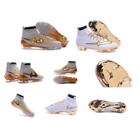 Wholesale New FG Golden Latest styles Soccer Shoes high quality Soccer Cleats Men Sports Shoes Soccer Boots Football Shoes