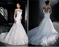 Cheap Berta bridal wedding dresses mermaid Best Long sleeves lace wedding dress