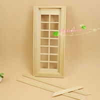 Wholesale 1 Scale Panel French Glass Door Dollhouse Miniatures DIY Kit Doll House Furniture Accessory