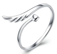 jewelry mirror - Sterling Silver Rings Angel Wings High End Mirror Surface Heart Woman Open Design Classic Jewelry JR14447
