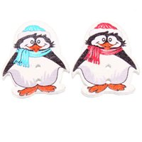 Wholesale Children Button Mixed Color Cute Penguin Wooden Button Fit Sewing Charms For Jewelry Finding DIY mm