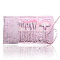 bags base - New pack Pink Makeup Brushes Set Cosmetic make up Concealer Foundation Eyeliner Base Brush Love Bag