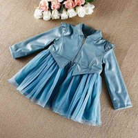 korea kids style - 2015 new baby girl ruffle outwear for autumn winter children thick leather top kid Korea style princess coat girl long sleeve jacket clothes