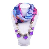 pendant scarf - Handmade Unique fabric pendant scarves necklace WJ0064A