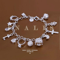 beautiful silver bracelet - Super beautiful high quality Silver Swarovski Elements Crystal fashion charm cross star lovely bracelet Cheap jewelry Holiday gifts H166