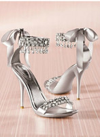 silver wedding shoes - silver Wedding Shoes bride shoes High Heel Rhinestone party shoes size