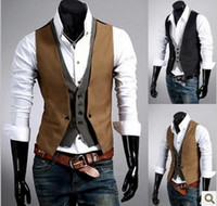 Wholesale men vest plaid pattern double breasted cotton korea style cardigan v neck fasle two piece design waistcoat casual vest for man free ship m12