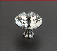 accessories for lockers - Transparent crystal diamond shape door knob handle pull for kitchen cabinet locker and drawer furniture handle accessory