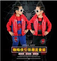 Wholesale 2016 autumn models of child suit Korean children s clothing three piece cotton quality factory Spiderman WG217