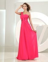 art deco items - Price One Shoulde Sequins Ruched Chiffon Floor Length Plus Size Hot Pink Evening Dresses New Items On Sale Custom Made