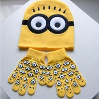 ab gloves - Novelty Kids Despicable Me Hat Minions Knitted Beanies Gloves Hot Winter Warm Hats For Boys and Girls AB set pairs of gloves hat