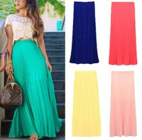 pleated skirt - S Spring Summer Fashion Long Chiffon Skirts Female Candy Color Pleated Maxi Womens Skirts