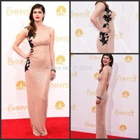 nude dress - Sexy Celebrity Dresses Long Alexandra Daddario Nude Dress Emmy Awards Sleeveless Sequin Evening Long Dress to party