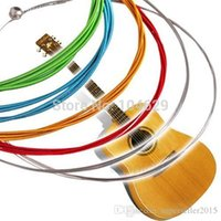 Wholesale High quality Set Rainbow Colorful Color Steel Strings for Acoustic Guitar M T1475 W0 SYSR
