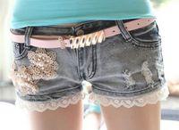 Cheap 2015 Spring Summer New Fashion Women's Shorts Korean Sweet Slim Lace Ripped Appliques Denim Blue Shorts Plus Size Femininos FG1510