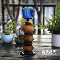 asian candle - FBH040249 Candle holder Southeast Asian style imitation lemon blue glass candle holder