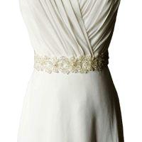 Wholesale S219 Stock NEW Stunning Bridal Sashes For Wedding Dress Crystal Rhinestones Pearl Satin Belt Wedding Accessories