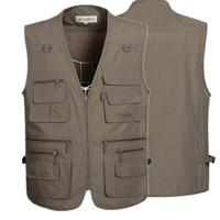 Wholesale Fall Colors Sleeveless Jackets and Coats Mens Outdoor Casual Vest With Many Pockets for Journalist Photography Sports Waistcoat