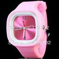 al por mayor reloj de señora del cuarzo de la jalea de color rosa-Al por mayor-luz de silicona alumnas señora Adolescentes Relojes de vestir de alta calidad Pink Deportes caramelo de la jalea del reloj del cuarzo del reloj Hora