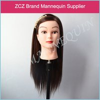 Wholesale ZCZ Manequin Dummy Training Head High Temperature Fiber Brown Hair Training Mannequin Head With Hair MT016