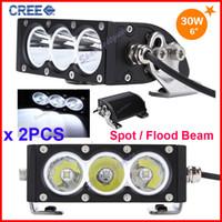 Wholesale 2PCS quot W CREE LED W Driving Work Light Bar Clear Lens White Offroad SUV ATV WD x4 Spot Flood Beam lm V IP67 Fog Headlamp