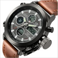 analog watch lcd - AMST Unique Vogue Dive Swimming Digital LCD Quartz Outdoor Sports Watches Relogio Masculino Clock With Handmade Leather Strap for Men