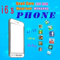 Wholesale i6s phone Plus MTK6572 Dual core GB ROM Quad Core Mtk6582 Metal body Smart phone inch Android cell phones