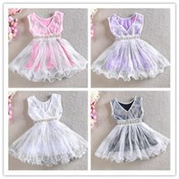 dress blue grace - Sequined V Neck Beaded Sashes Gauze Tiered Solid Princess Ruffly Kid Girls Dress Fashion Soft Casual Grace Party N1820
