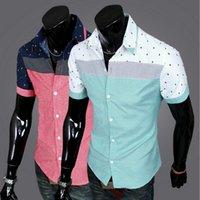 Wholesale 2016 New Arrival Fashion men s slim cotton split joint short sleeve shirts fit stylish Dress M XL