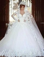 Wholesale 2016 Modern Arabic A Line Wedding Dresses Said Mhamad Sweetheart Long Sleeves Lace Appliques Beads Long Chapel Train Plus Size Bridal Gown