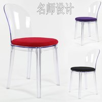 acrylic dining chair - European Style creative transparent acrylic chairs black dining chair fashion Italian designer coffee chairs leisure chair