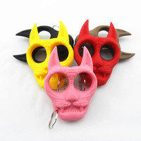 Wholesale 2015 Self Defense Tiger Head Novelty Keychain Defend Key Chain Chaveiro Key Ring Holder key rings cheap gift hot sale