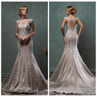 beautiful modest dresses - Amelia Sposa Beautiful Cap Shoulder Lace Appliques Mermaid Wedding Dresses Natural Slim Bridal Gowns Lace Custom Modest Vestidos