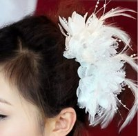 Wholesale 10pc Fabric Beaded Flower with Feather Hair Clip Coil Bridal Wedding Hawaii Party