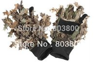 artificial fur material - Outdoor Hunting Camouflage Full Finger Nylon Gloves with Leaves Material