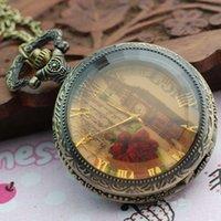 Wholesale Pretty Antique Retro Rose Iron Tower Pendant Necklace Steam punk Quartz Pocket Watch
