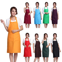 aprons wholesale - Plain Apron Aprons with Front Pocket Bib Kitchen Cooking Craft Chef Baking Art Adult Teenage College Clothing