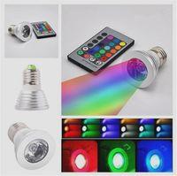Wholesale LED RGB Bulb W Color Changing W LED Spotlights RGB led Light Bulb Lamp E27 GU10 E14 MR16 GU5 with Key Remote Control V DHL