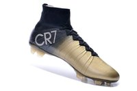 Wholesale 2015 Newest Black Gold Outdoor Soccer Shoes Men Ball Boots Football Athletic Shoe Man Brand Cristiano Ronaldo CR7 Sports Cleats FG Cheap Top