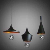 Wholesale Indoor Light Tom Dixon Copper Design Shade Pendant Lamp E27 Bulbs Beat Light Ceiling Lamp Black White Home Decoration ABC Size
