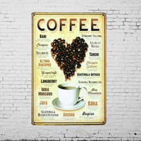 Wholesale Coffee Cup Bean Heart TIN SIGN Diner Shop Metal Painting Wall Home Kitchen Art Decor