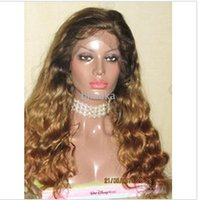 Cheap 100% human hair body wave indian remy hair curly full lace wigs 20inch #T1b 30 two tone color