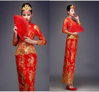 traditional chinese wedding dress - In Stock Two Piece Exquisite Retro Phoenix Golden Embroidered Long Sleeve Traditional Chinese Wedding Dress sheath Bride Wedding CheongsamZC
