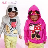 Wholesale Fashion Girl Boy Children Cartoon Miki Minnie Mouse Hoodies Coat Kids Clothing Girls Boys Outwear Coats Hooded Long Sleeve Cotton Tops A1209