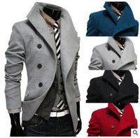 Wholesale Fashion New Cable Placket Single Breasted Large Lapel Men s Wool Coat hight quality new arrive