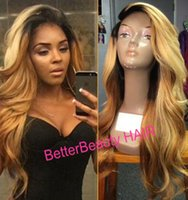 Wholesale black roots golden hair remy European Virgin human hair body wave full lace wig lace front wig human hair wigs women wigs lace wi