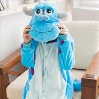 adult onesies - 2014 new Brand monster Sulley Sullivan adult onesies Pyjamas Cartoon animal costume Pajamas Unisex pijamas sleepwear jumpsuit cosplay
